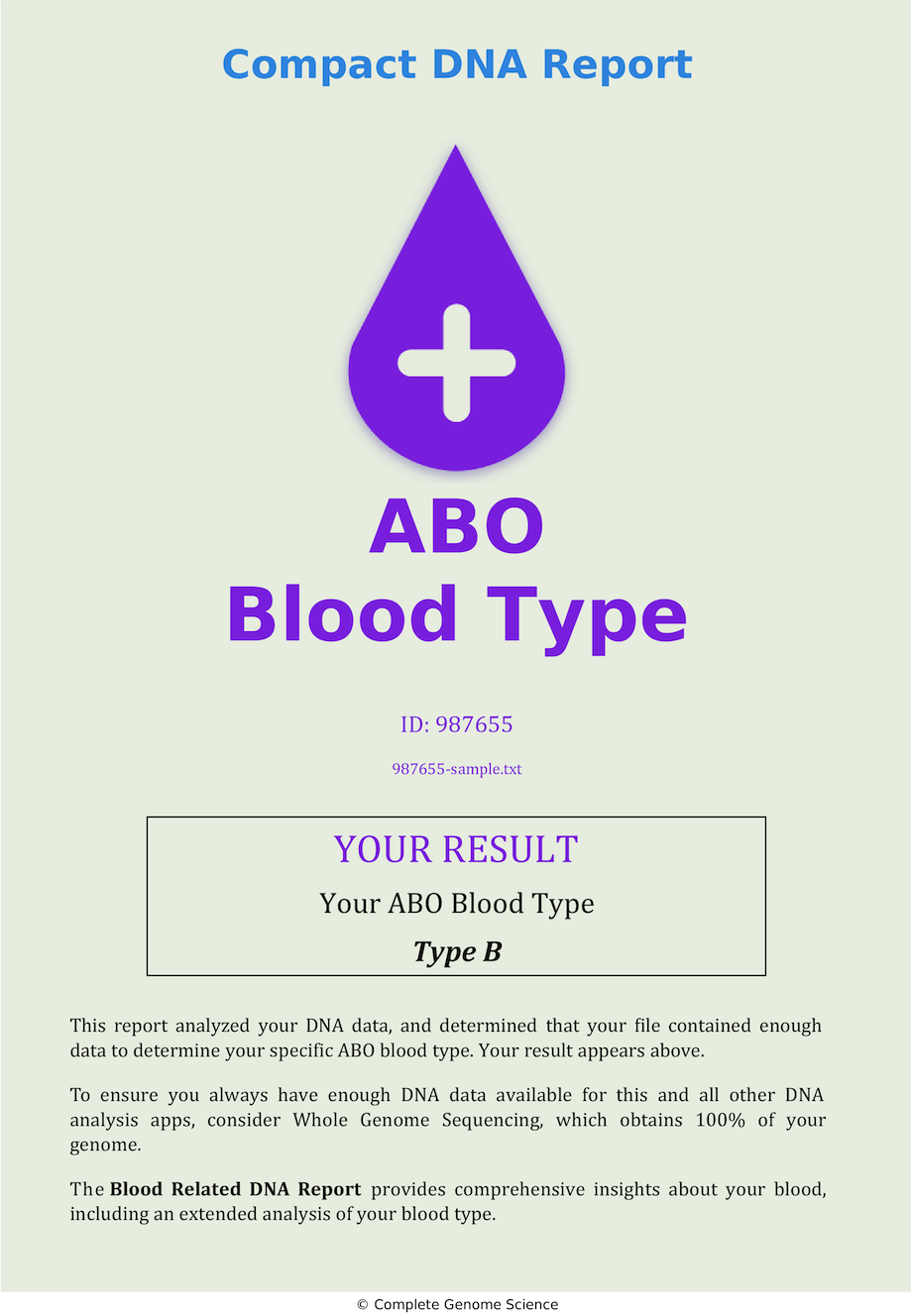 ABO Blood Type Sample DNA Report A