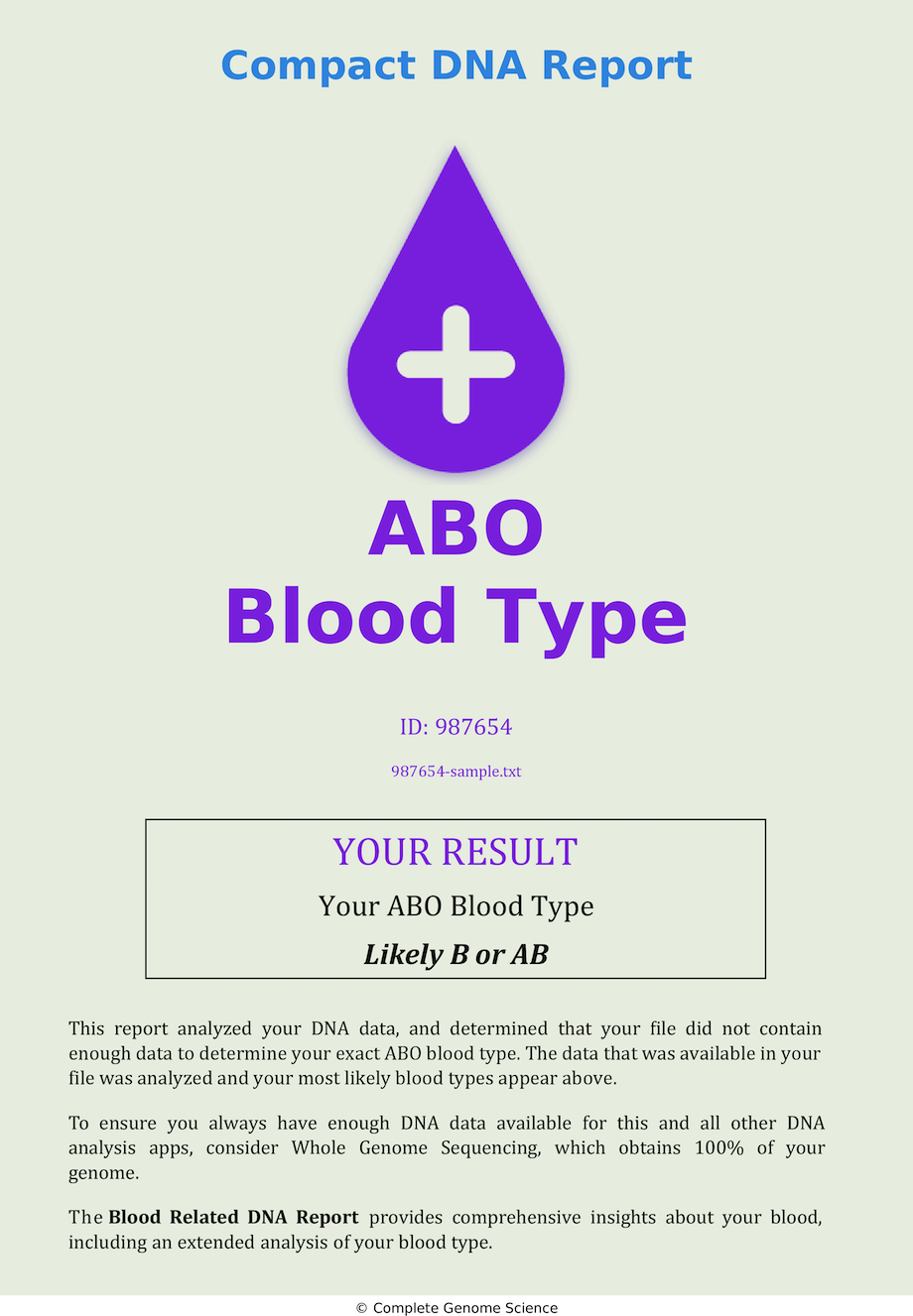 ABO Blood Type Sample DNA Report B