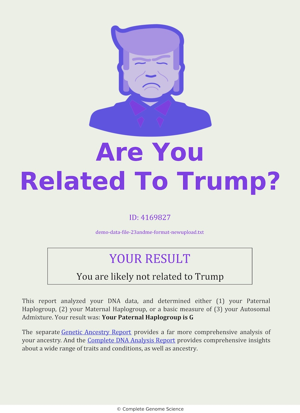 Are You Related To Trump DNA Analysis Report Cover
