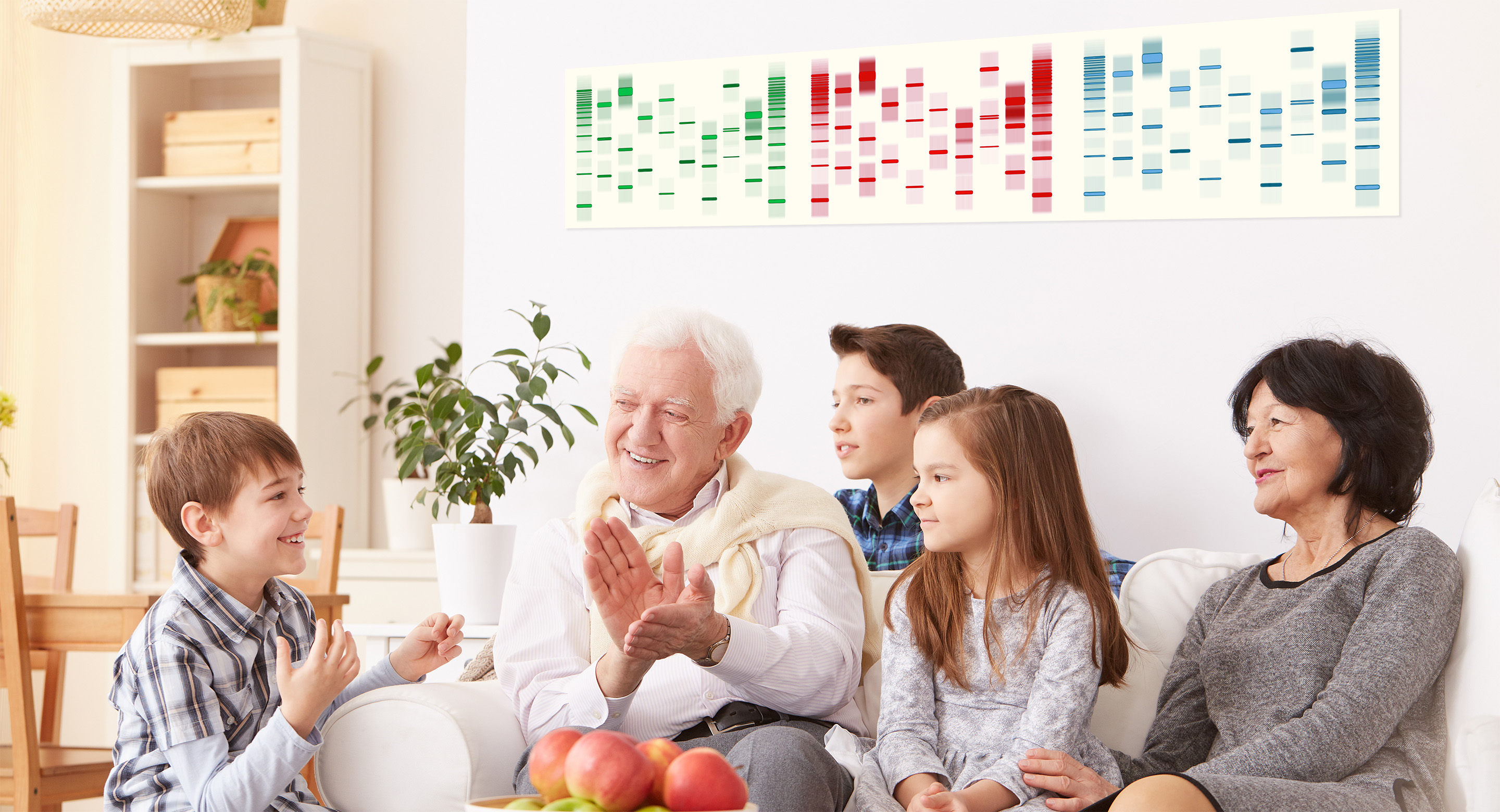 Family enjoying DNA Art US personalized artwork available in Sequencing.com Genome App Store