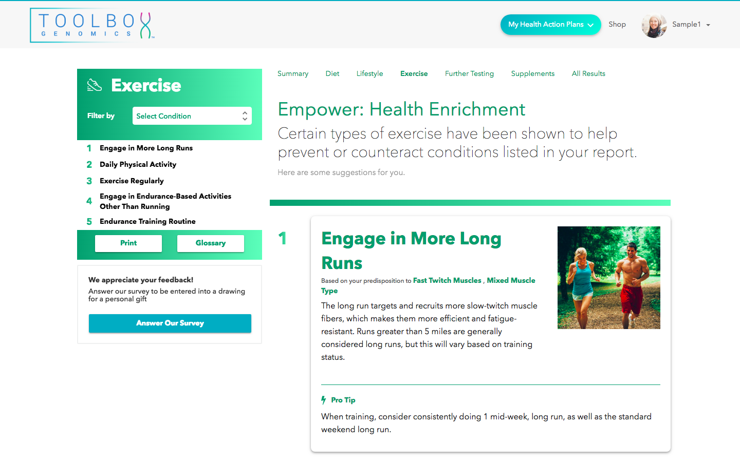 Empower genome app by Toolbox Genomics in Sequencing.com's DNA App Store provides a DNA tailored fitness action plan and is compatible with DNA data from all genetic tests including AncestryDNA, 23andMe, FTDNA, My Heritage, Genes for Good (GFG), Helix, All Of Us, Dante Labs, Illumina, Living DNA, 23andMe sequencing and genome sequencing