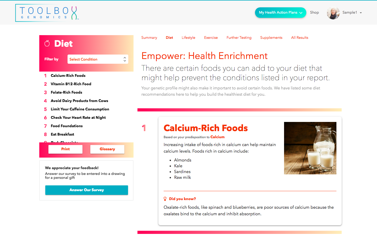 Empower gene app by Toolbox Genomics in Sequencing.com's DNA App Store provides the highest rated DNA personalized nutrition plan including diet, weight loss, fitness, vitamins and overall health guidance and is compatible with DNA data from all genetic tests including AncestryDNA, 23andMe, 23andMe sequencing, FamilyTreeDNA, MyHeritage, Genes for Good (GFG), Helix, Exome Plus, All Of Us, Dante Labs, LivingDNA and gene sequencing