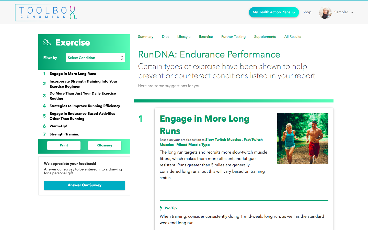 TBG Total Wellness DNA app by Toolbox Genomics available in Sequencing.com's DNA App Store provides the best genetically tailored health action plan including nutrition, fitness, vitamins and wellness guidance and is compatible with DNA data from all genetic tests including AncestryDNA, 23andMe, FTDNA, My Heritage, Genes for Good (GFG), Helix, All Of Us, Dante Labs, Illumina, Living DNA and genome sequencing