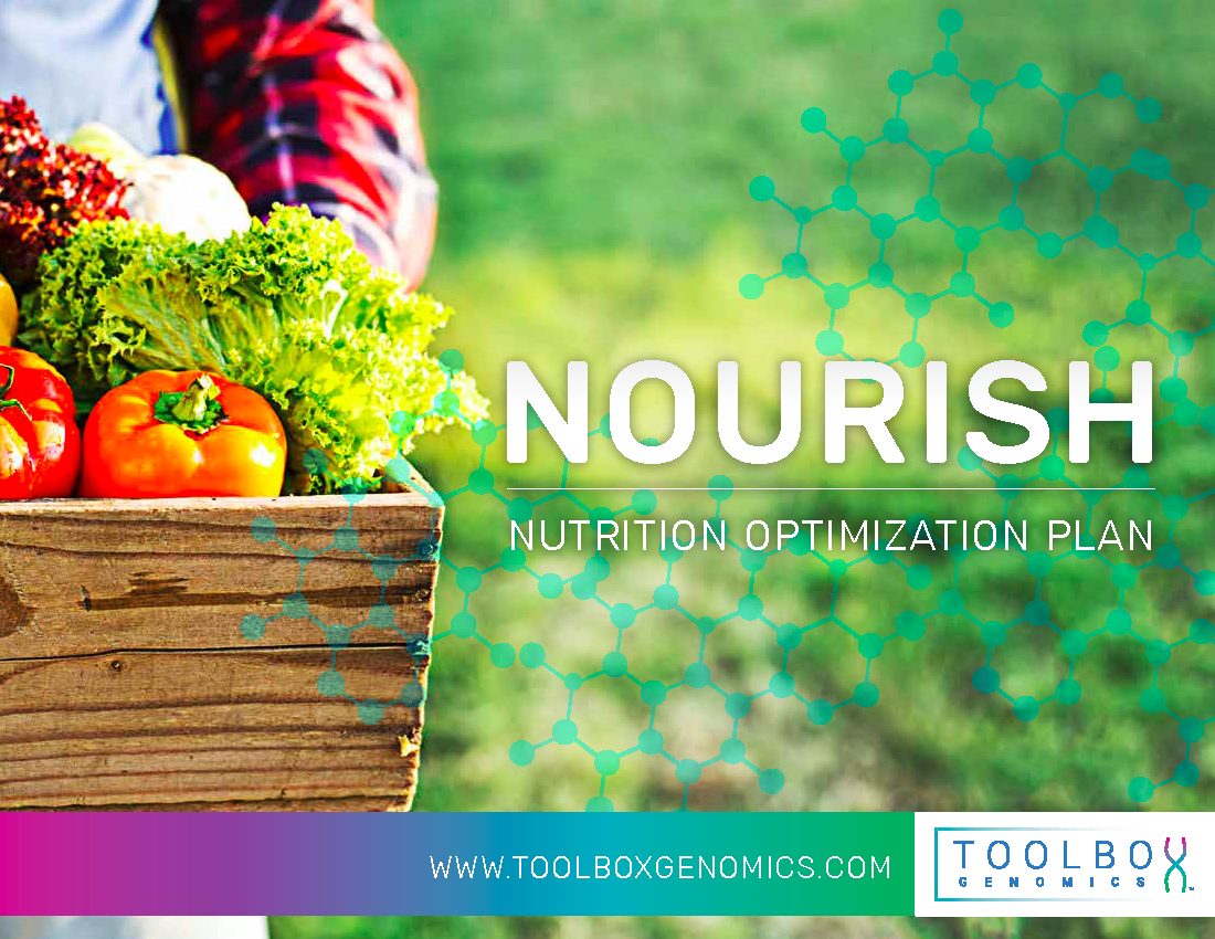 TBG Total Wellness DNA app by Toolbox Genomics available in Sequencing.com's DNA App Store includes the Nourish DNA app assessment that provides the ultimate personalized health action plan and is compatible with DNA data from all genetic tests including AncestryDNA, 23andMe, FTDNA, My Heritage, Genes for Good (GFG), Helix, All Of Us, Dante Labs, Illumina, Living DNA and whole genome sequencing.