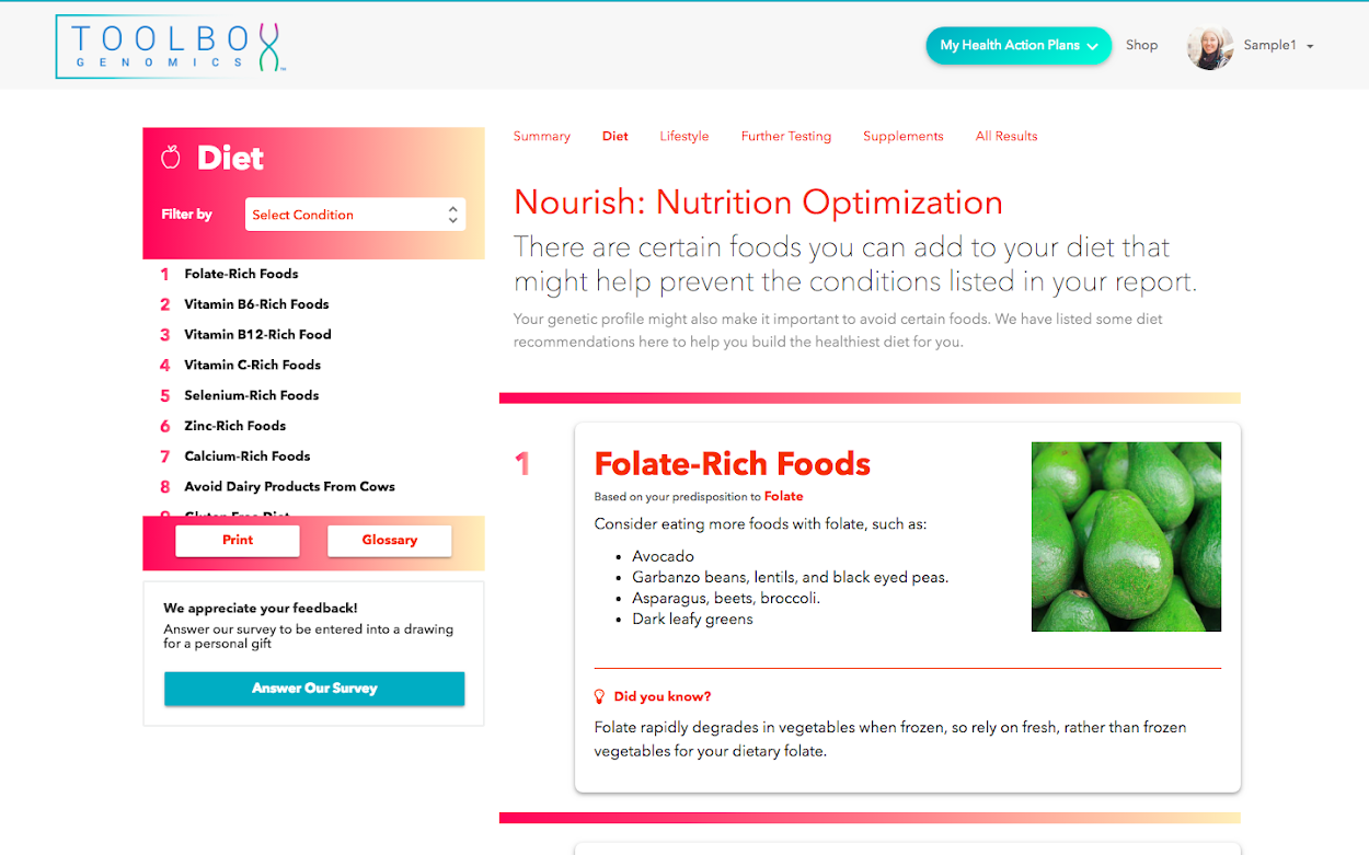 TBG Total Wellness DNA app by Toolbox Genomics available in Sequencing.com's DNA App Store provides the highest rated personalized health action plan including diet, weight loss, fitness, vitamins and overall health guidance and is compatible with DNA data from all genetic tests including AncestryDNA, 23andMe, FTDNA, My Heritage, Genes for Good (GFG), Helix, All Of Us, Dante Labs, Illumina, Living DNA and genome sequencing