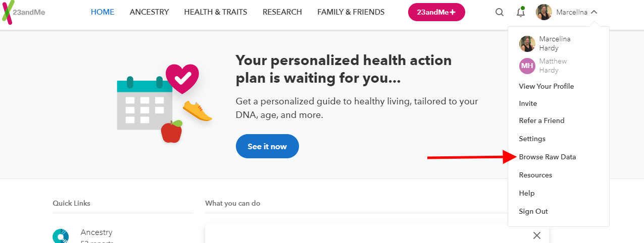 23andme browse raw data
