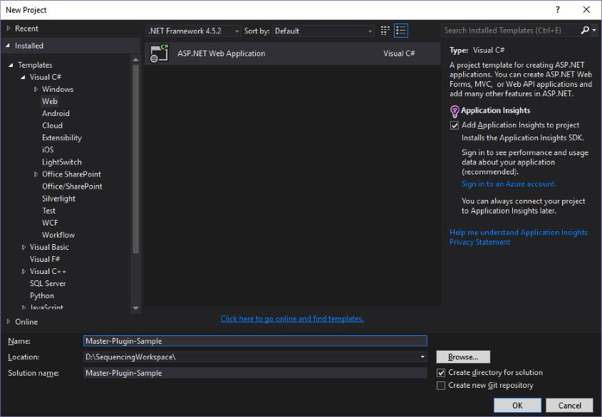 Net master plugin create project